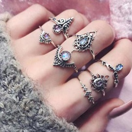 Purple Blue Water Drop Crystal Stone Hollow Flower Crown Shaped Metal Joint Knuckle Combination Rings