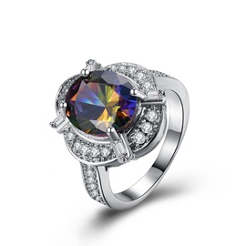 Colored Stone Inlaid All Match Zircon Wedding Ring