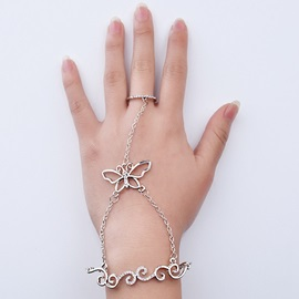 Butterfly Shape Hollow Alloy Ring with Bracelet