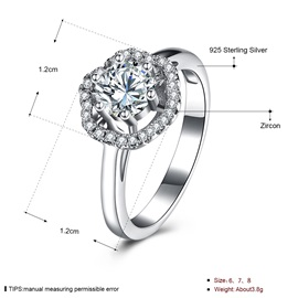 White Rose 925 Silver Hexagon Shape Inlaid Wedding Ring