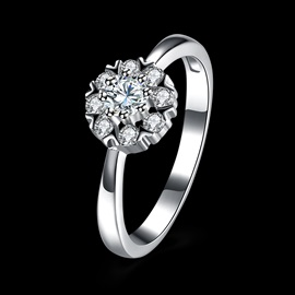 White Rose 925 Silver Zircon Prong Wedding Ring
