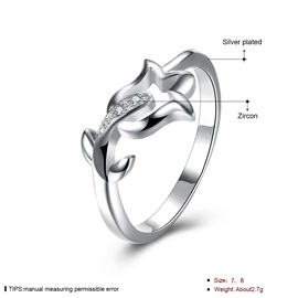 White Rose Hollow E-plating Silver Plated Wedding Ring