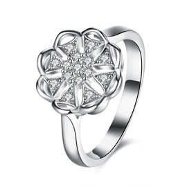 White Rose 925 Silver Zircon Inlaid Wedding Ring