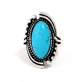 Vintage Turquoise Inlaid Oval Cut Alloy Rings