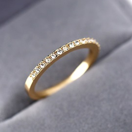 Concise Rose Gold Full Drill Rhinestone Alloy Party Ring