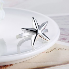 Starfish Shape Silver-Plated Party Ring
