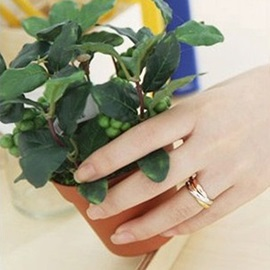 Concise Three Color Metal Lovers Ring