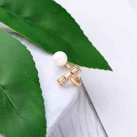 Golden Geometric Shape Pearl Decorated Open Ring