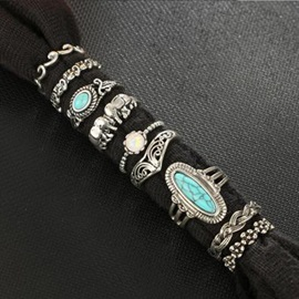 Turquoise with Rhinestone Decorated 9-Pcs Metal Ring Set