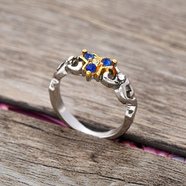 Elegant Sapphire Shape Color Block Alloy Ring