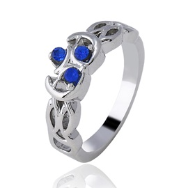 Sapphire Decorated E-plating Alloy Creative Party Ring
