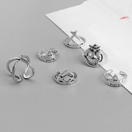 Exaggerated Pattern Alloy Bohemian Rings Set