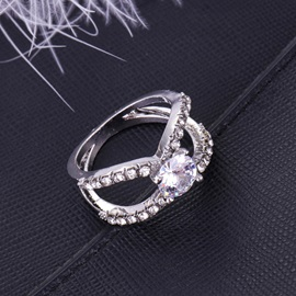 Hollow Zircon Shape Interlaced Design Prom Ring