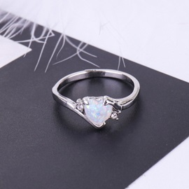 Concise Heart Shape Gemstone Bronze Prom Ring