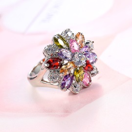 Colored Floral Shape Bronze E-Plating Alloy Ring