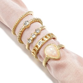 Brief 5Pcs Rhinestone Midi Rings for Women