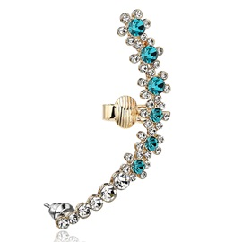 Punk Trendy Full Crystals Simple Style Cuff Earring
