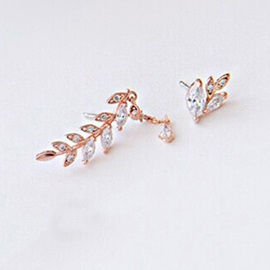 New Style Leaf with Crystal Pendant Irregular Earrings