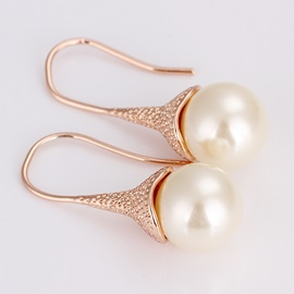 Golden Rhinestone Alloy Pierced Earrings