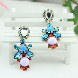 Floral Rhinestone Decorated Drop Earrings