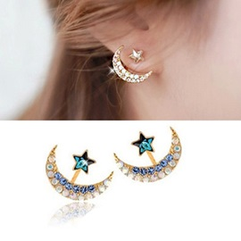 Star & Moon Shaped Stud Earrings