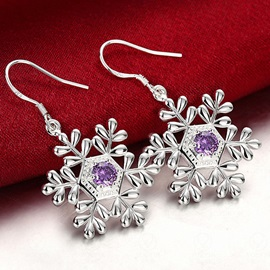 Fashion Silver Plated Snowflake Earrings