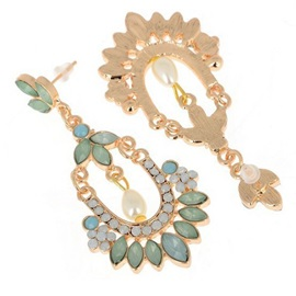 Pearl & Gemstones Decorated Women Earrings