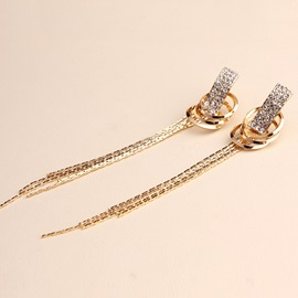 Long Wave Tassels Diamante Earrings