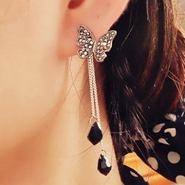 Butterfly Diamante Tassels Earrings