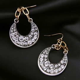Alloy Moon Diamante Pendant Earrings