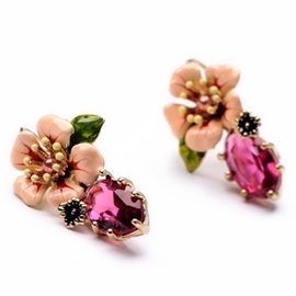 Beautiful Flower Gemstone Stud Earrings