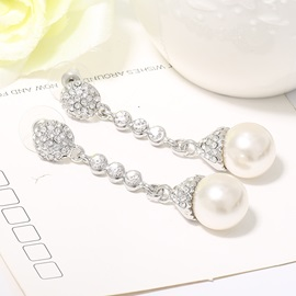 White Pearl E-Plating Earrings