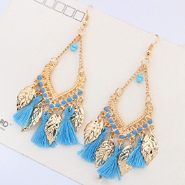 Metal Leaves Tassel Earrings