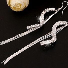 S-Shaped Diamante Tassels Earrings