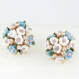 Sweet Ceramics Flower Stud Earrings