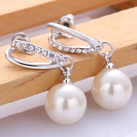 Imitation Pearl Pendant Earrings