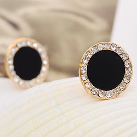 Black Round Diamante Stud Earrings