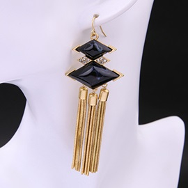Alloy Rhombus with Tassels Pendant Earrings