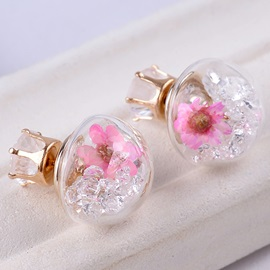 Pink Flowers Hemispherical Stud Earrings
