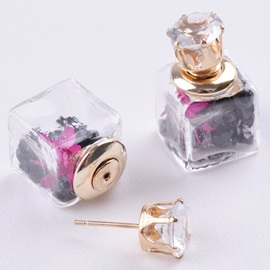 Square Pink Flowers Design Stud Earrings