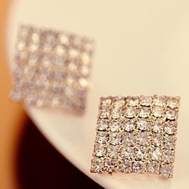 Square Full Rhinestone Stud Earrings