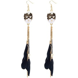 Retro Mask with Feather Tassels Pendant Earrings