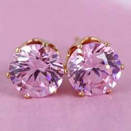 Colorful Round 8mm Zircon Inlaid Simple Earrings