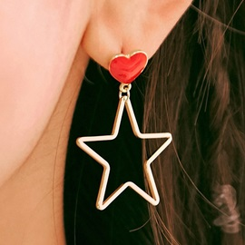 Lovely Heart-Shaped with Star Design Colorful Earrings