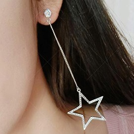 Five-Pointed Star with Rhinestone Long Pendant Earrings