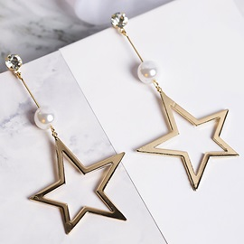 Star and Bead Design Alloy All-Matched Earrings