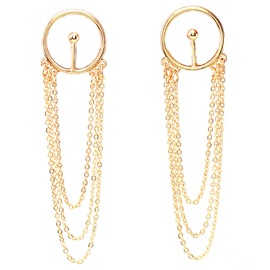 Alloy Multilayer Chain Tassels Earrings