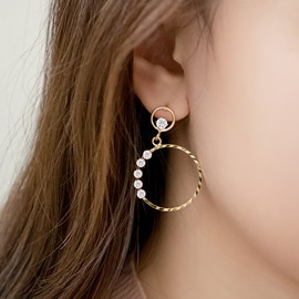 Trendy Diamante Circle Anti-Allergy Earrings