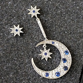 Asymmetric Star & Moon with Blue Rhinestone Earrings