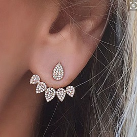 Fashion Alloy Imitation Diamond Back Stud Earrings